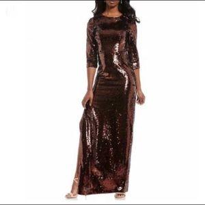 NWT Aidan Mattox Bronze Sequin Column Dress